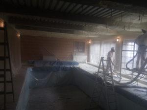 stříkaná izolace bazénu, protikondenzační nástřik, PUR pěna